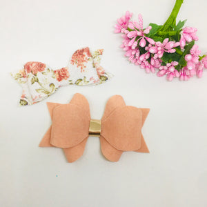 Faux Suede and Leatherette Peach clip pair