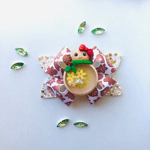 Christmas Gingerbread Shaker Clay bow