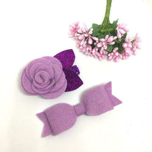 Felt bow and Flower Clip Pair