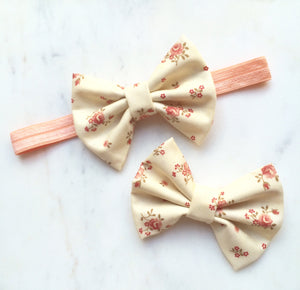 Floral Fabric Small Bow Headband