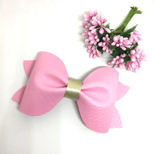 Load image into Gallery viewer, Extra Large Luxe Pink Leatherette Pinch Bow