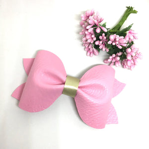 Extra Large Luxe Pink Leatherette Pinch Bow