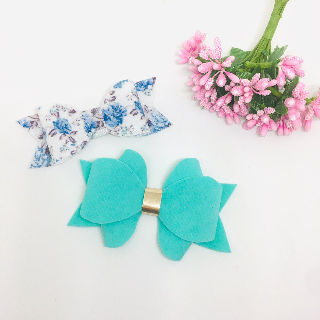 Faux Suede and Leatherette Teal clip pair