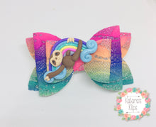 Load image into Gallery viewer, Sloth Rainbow Clay Bow