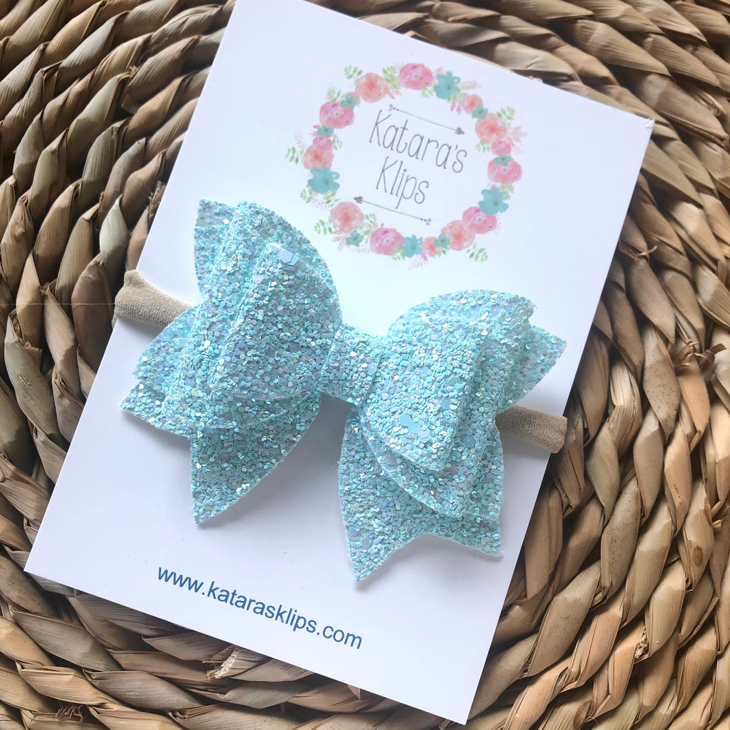 Pastel Blue Aster Bow