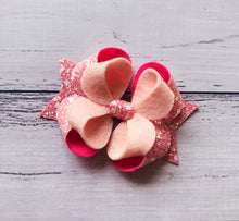 Load image into Gallery viewer, Pink Glitter Felt Posey Bow