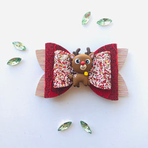 Christmas Reindeer Clay bow