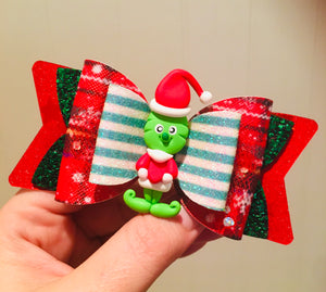 Christmas Grinch Clay bow