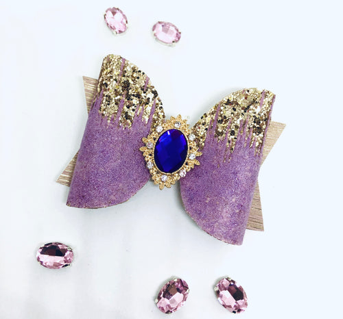 Purple Gold drip Rhinestone bow