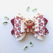 Load image into Gallery viewer, Christmas Gingerbread Man Clay bow