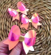 Load image into Gallery viewer, Pink Iridescent Lily bow