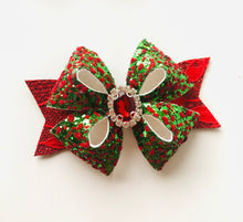 Load image into Gallery viewer, Christmas Rhinestone Fleur bow
