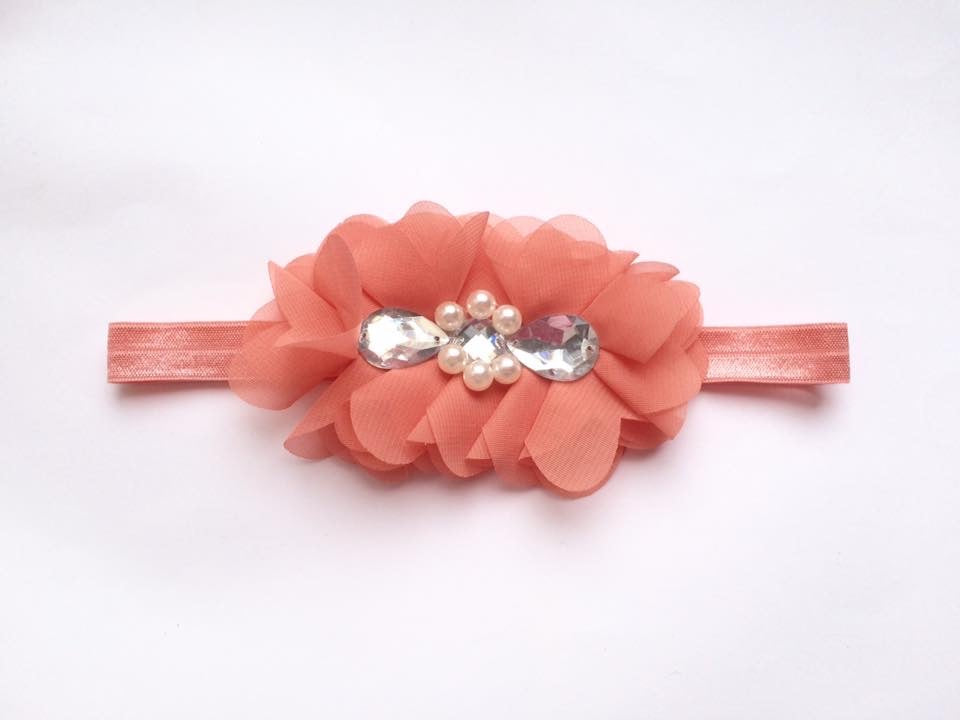 Orange Rhinestone Flower bow