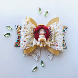 Christmas Angel wings Clay bow