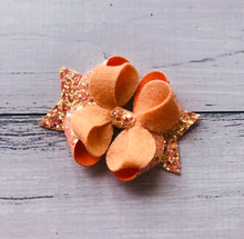 Load image into Gallery viewer, Peach Glitter Felt Posey Bow