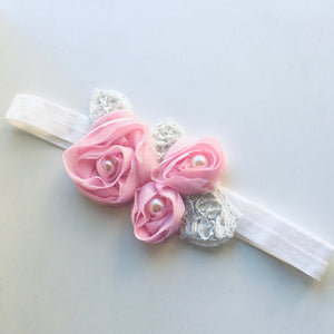 Pink Pearl Appliqué Flower bow