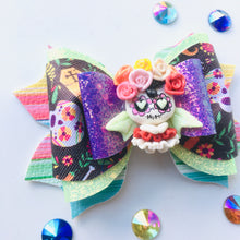 Load image into Gallery viewer, Clay Unicorn Sugar Skull Fiesta Bow