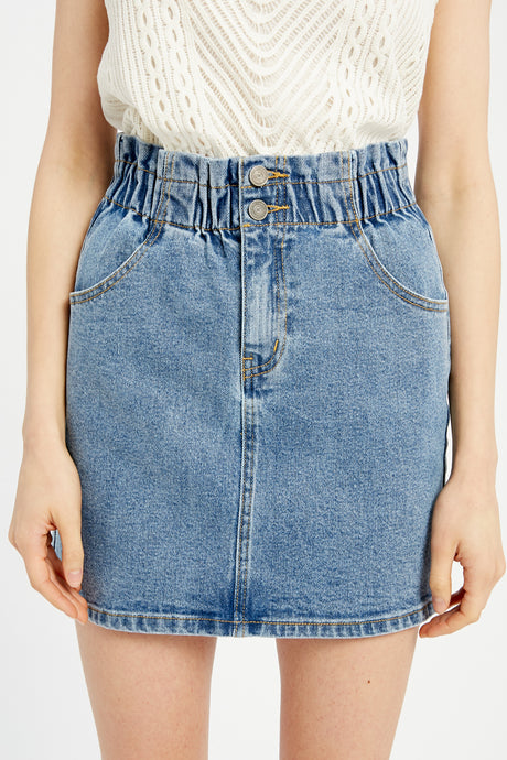 Shirred Waist Denim Skirt - Medium Denim