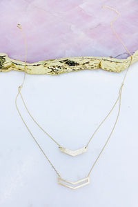 Layered Chevron Necklace - Gold