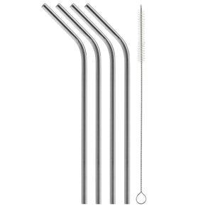 Curved Stainless Steel Straws - 4 Pack