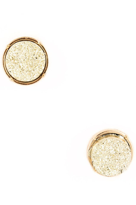 Druzy Stone Circle Stud Earrings (+color options)
