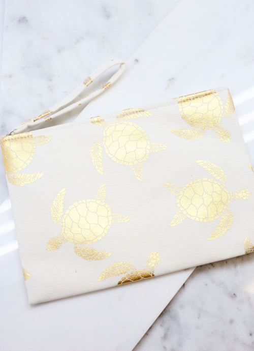 Gold Foil Turtle Pouch - White