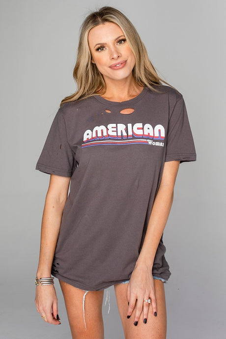 Buddy Love American Woman Distressed Graphic Tee