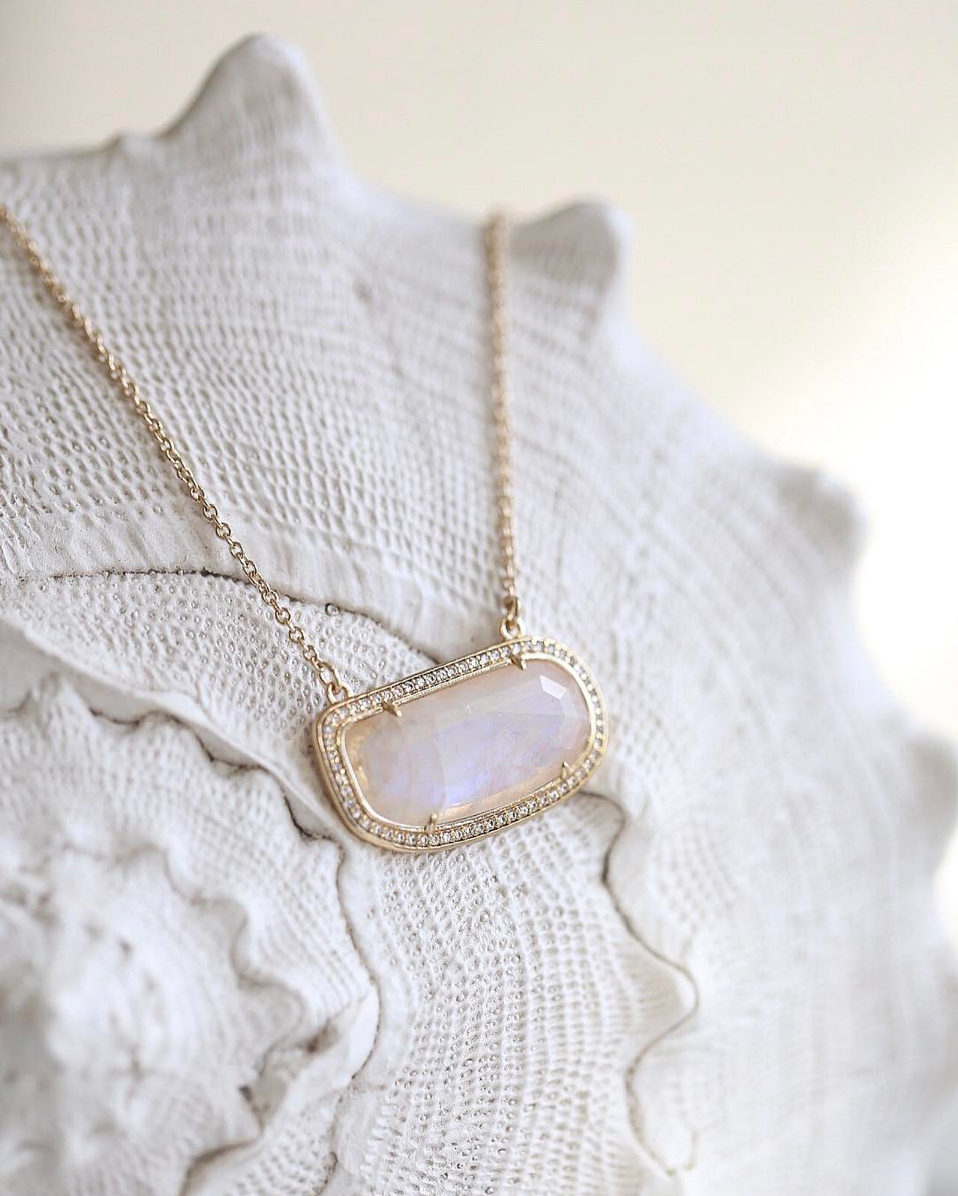 Melanie Auld Stone Slice Necklace - Gold/Moonstone