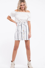 Load image into Gallery viewer, Striped Button Down Skirt - Blue