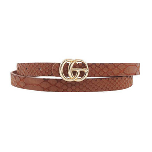 Snakeskin Belt - Brown