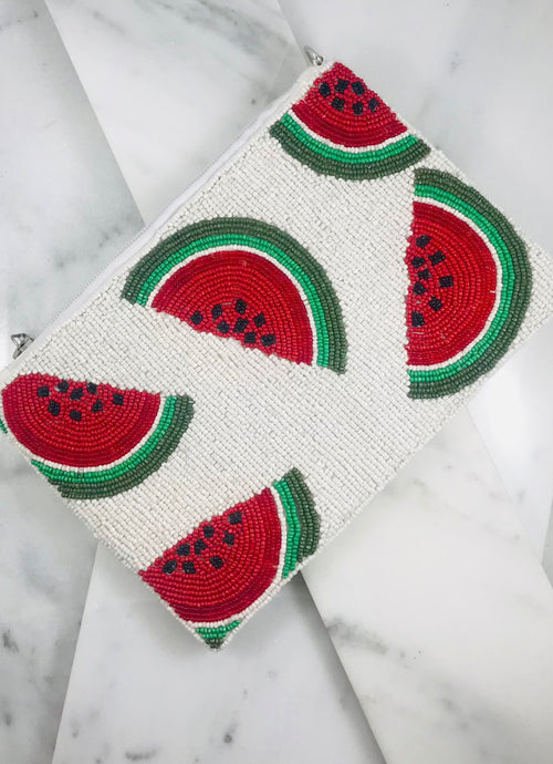 Watermelon Beaded Crossbody - Ivory