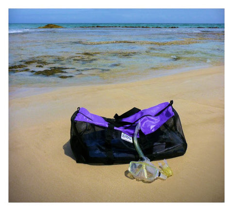 Mesh breathable snorkel and scuba gear bag