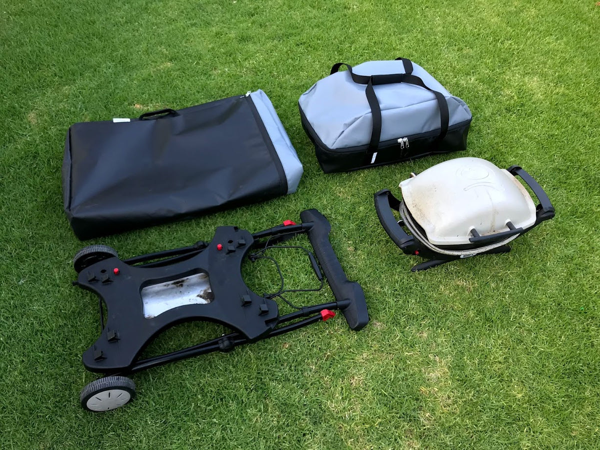 Weber Q BBQ Grill and protable stand travels bags