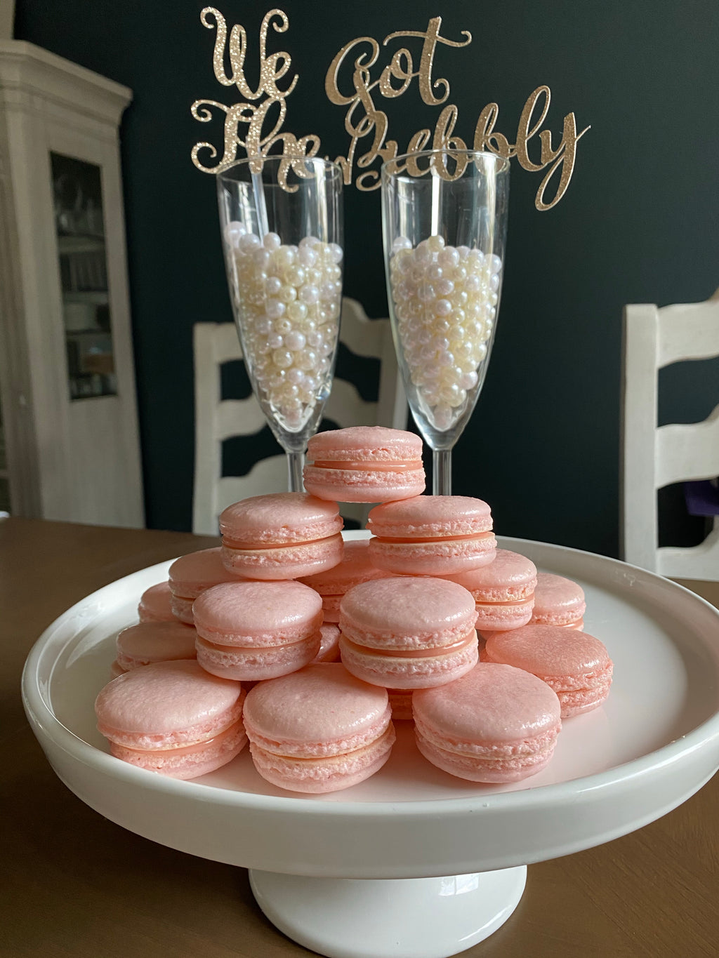 Rose and White Chocolate Ganache Macarons
