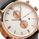 EMPORIO ARMANI CLASSIC BROWN LEATHER WATCH AR0398