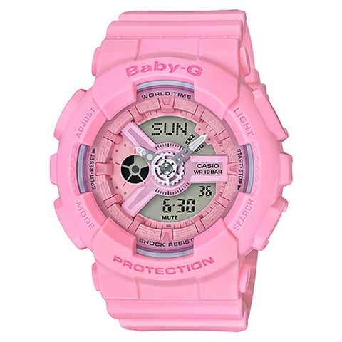 CASIO BABY-G FLOWER-IMAGE PINK LADIES ANALOG DIGITAL RESIN WATCH BA-110-4A1