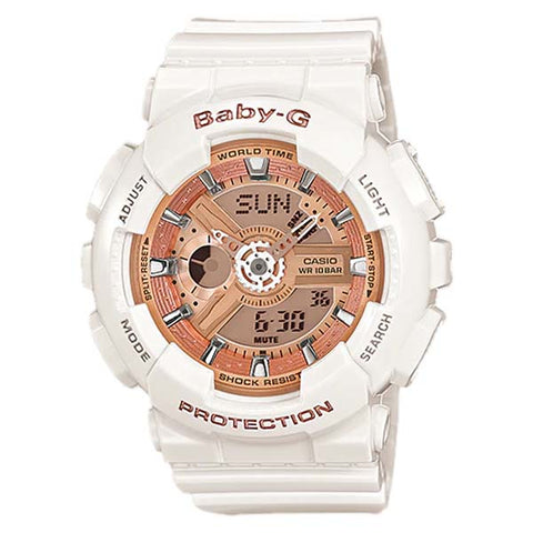 CASIO BABY-G FLOWER-IMAGE ROSE GOLD & WHITE LADIES ANALOG DIGITAL RESIN WATCH BA-110-7A1