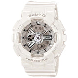 CASIO BABY-G METALLIC FACE LADIES ANALOG DIGITAL WHITE RESIN WATCH BA-110-7A3