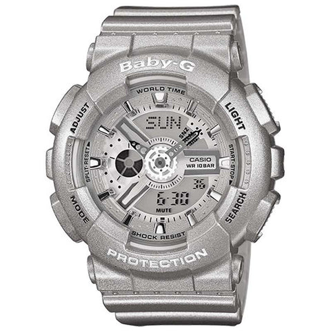 CASIO BABY-G BIG CASE SERIES LADY'S SIVER RESIN DIGITAL WATCH BA-110-8