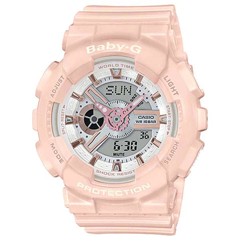 CASIO BABY-G POPULAR PASTEL PINK LADY'S ANALOG DIGITAL RESIN WATCH BA-110RG-4A