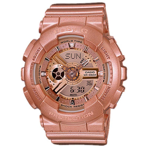 CASIO BABY-G METALLIC ROSE GOLD RESIN DIGITAL WATCH BA-111-4A