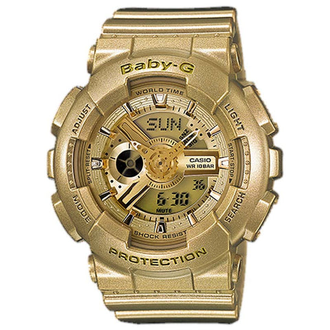 CASIO BABY-G METALLIC GOLD RESIN QUARTZ DIGITAL WATCH BA-111-9A