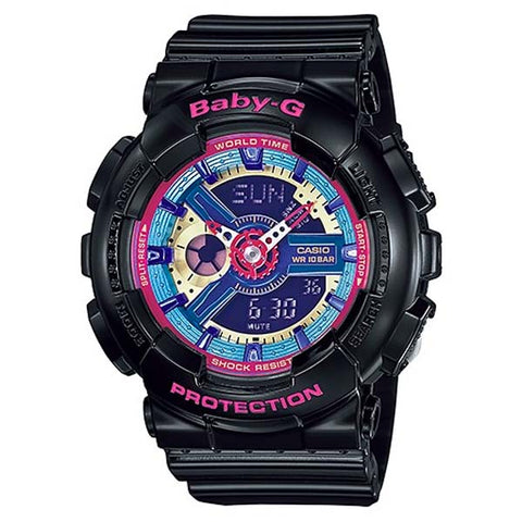 CASIO BABY-G  MULTICOLOR DIAL BLACK RESIN MULTI QUARTZ WOMAN'S WATCH BA-112-1A