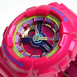 CASIO BABY-G METALLIC MULTI-COLOR FACE PINK RESIN WATCH BA-112-4A