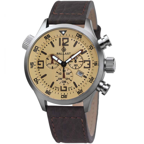 BALLAST MEN'S SWISS MADE QUARTZ WIHT DATE LEATHER STRAP WATCH BL-3103-05