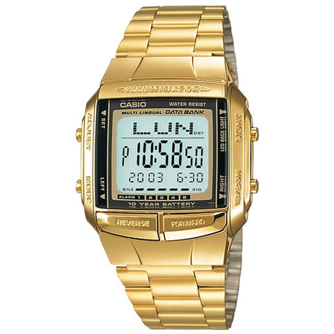 CASIO GOLD VINTAGE DATA BANK TELEMEMO 13 LANGUAGES WATCH DB-360G-9A