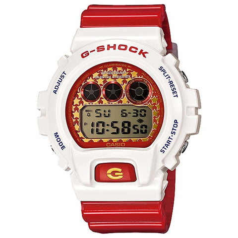 CASIO G-SHOCK WHITE & RED RESIN DIGITAL WATCH DW-6900SC-7D