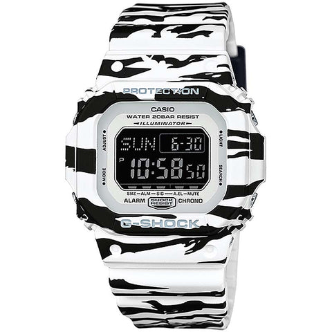 CASIO G-SHOCK WHITE BLACK TIGER STRIPES DIGITAL WATCH DW-D5600BW-7