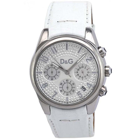 Dolce & Gabbana Chrono Women's Quartz White Leather Watch DW0257 - SALE
