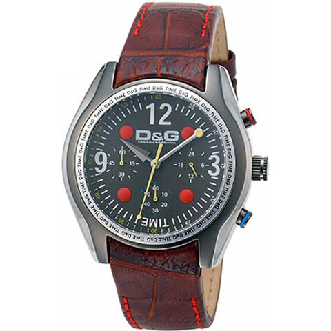 Dolce & Gabbana Chrono Mens Quartz Brown Leather Watch DW0312 - SALE